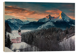 Wood print  Alpenglow at Watzmann - Dieter Meyrl