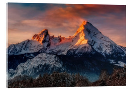 Acrylic glass  Alpenglow at Watzmann - Dieter Meyrl