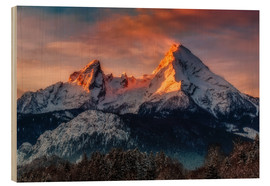 Wood  Alpenglow at Watzmann - Dieter Meyrl