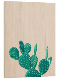 Wood print  Turquoise cactus - Finlay and Noa