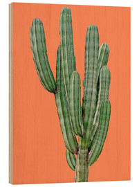 Wood print  Cactus in Orange - Finlay and Noa