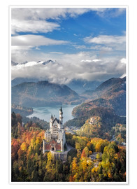 Premium poster  Neuschwanstein Castle at Autumn - Dieter Meyrl
