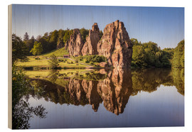Wood print  Rocks with reflection in the lake - Michael Valjak