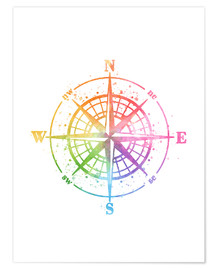 Premium poster Compass Watercolor