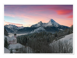 Premium poster  Alpenglow in Bavarian Alps with Watzmann - Dieter Meyrl