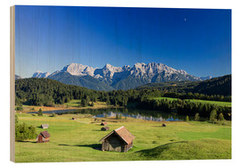 Wood print  Sunny day at Geroldsee in Alps - Dieter Meyrl