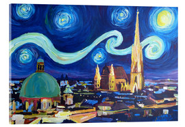 Acrylic print  Starry Night in Vienna Austria   Saint Stephan Cathedral Van Gogh Inspirations - M. Bleichner