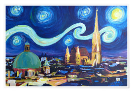 Premium poster Starry Night in Vienna Austria   Saint Stephan Cathedral Van Gogh Inspirations