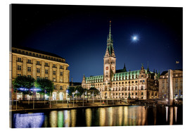 Acrylic print  Moon over the town hall in Hamburg - Tanja Arnold Photography