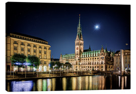 Canvas  Moon over the town hall in Hamburg - Tanja Arnold Photography
