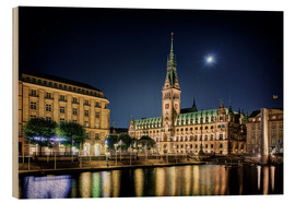 Wood print  Moon over the town hall in Hamburg - Tanja Arnold Photography