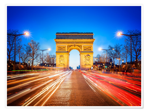 Premium poster Arc de Triomphe and Champs-Elysees at night in Paris France