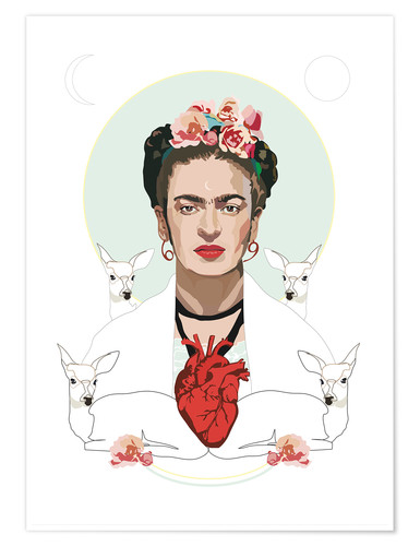 Premium poster Frida with heart