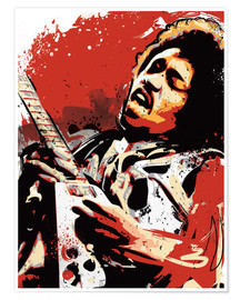 Poster alternative jimi hendrix street art style illustration