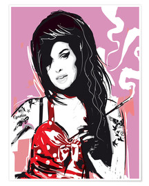 Poster alternative amy winehouse pop style illustration