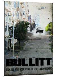 Alu-Dibond  alternative bullitt retro movie poster - 2ToastDesign