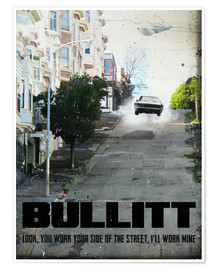 Premium poster alternative bullitt retro movie poster