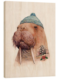Wood print  Tattooed Walrus - Animal Crew