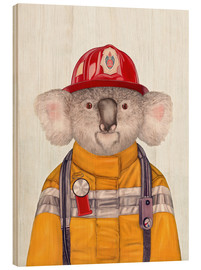 Wood print  Koala Firefighter - Animal Crew