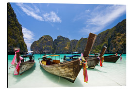 Aluminium print  Long tail boat at Maya Bay, PhiPhi