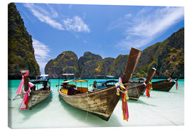 Canvas  Long tail boat at Maya Bay on the island of PhiPhi