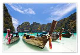 Premium poster  Long tail boat at Maya Bay, PhiPhi