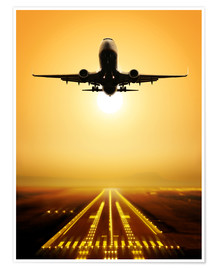 Poster  Start a passenger plane in the sunset