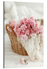 Aluminium print  Pink pastel flowers in wicker basket