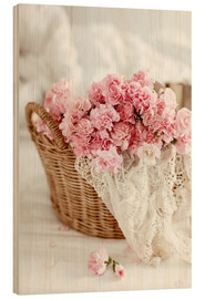 Wood print  Pink pastel flowers in wicker basket