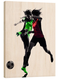 Wood print  two soccer players