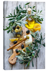 Canvas  Green and black olives with bottle of olive oil