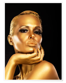 Premium poster Woman with Gold Make-up