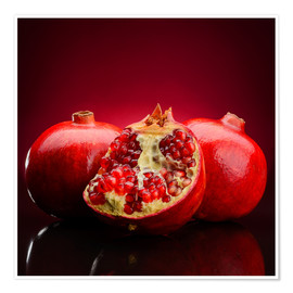 Poster  red pomegranate fruits
