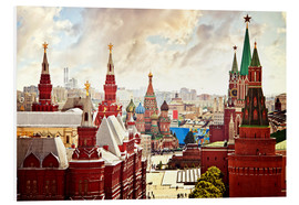 Foam board print  Aerial view of the Kremlin in Red Square, Moscow