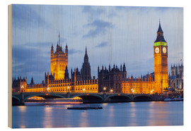 Wood print  Big Ben and Westminster Bridge, London