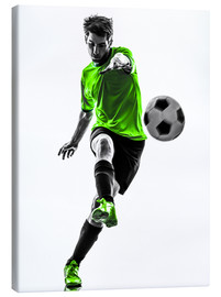 Canvas print  Football player kicking
