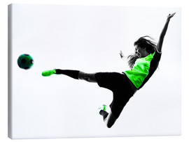 Canvas print  Female Footballer jumping