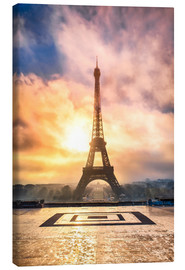 Canvas print  Eiffel Tower in Paris at sunset - Jan Christopher Becke