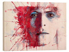Wood print  The prettiest star : David Bowie - Paul Lovering Arts