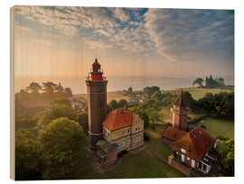 Wood print  Dahme Lighthouse Baltic Sea Aerial View - Dennis Stracke