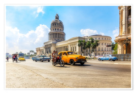 Premium poster Havana Capitol with Oldtimer