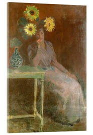 Acrylic print  Sedentary woman next to a vase with sunflowers - Claude Monet