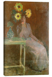 Canvas print  Sedentary woman next to a vase with sunflowers - Claude Monet