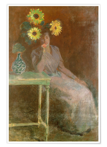Premium poster Sedentary woman next to a vase with sunflowers
