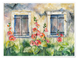 Premium poster  Hollyhocks - Jitka Krause