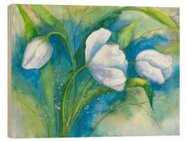Wood print  white tulips - Jitka Krause