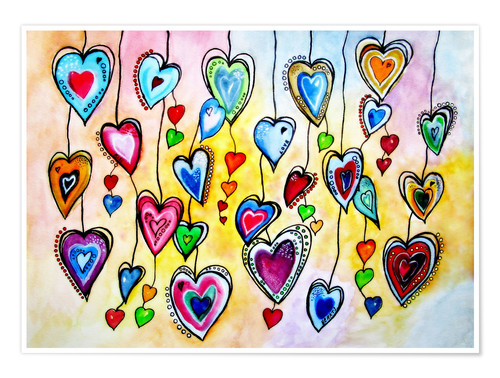 Poster Awesome Colorful Hearts