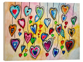 Wood print  Awesome Colorful Hearts - siegfried2838