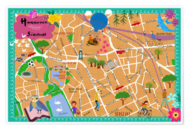 Premium poster  Colorful city map Hanover - Elisandra Sevenstar