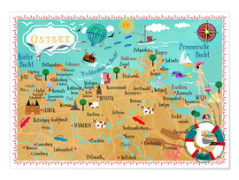 Premium poster Colorful map Baltic Sea